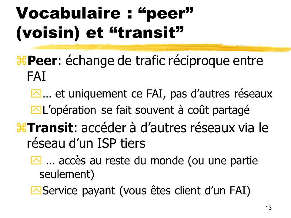 13 Vocabulaire : peer (voisin) et transit  Peer: échange de trafic réciproque entre FAI  … et uniquement ce FAI, pas d'autres réseaux  L'opération se fait souvent à coût partagé  Transit: accéder à d'autres réseaux via le réseau d'un ISP tiers  … accès au reste du monde (ou une partie seulement)  Service payant (vous êtes client d'un FAI)