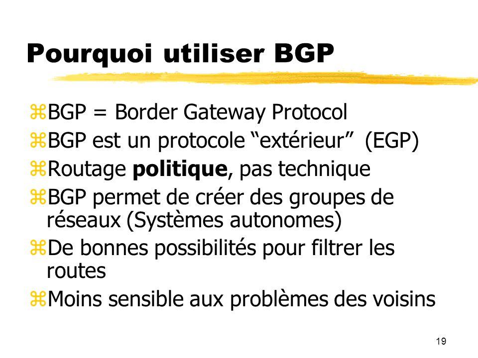 19 Pourquoi utiliser BGP  BGP = Border Gateway Protocol  BGP est un protocole extérieur (EGP)  Routage politique, pas technique  BGP permet de créer des groupes de réseaux (Systèmes autonomes)  De bonnes possibilités pour filtrer les routes  Moins sensible aux problèmes des voisins