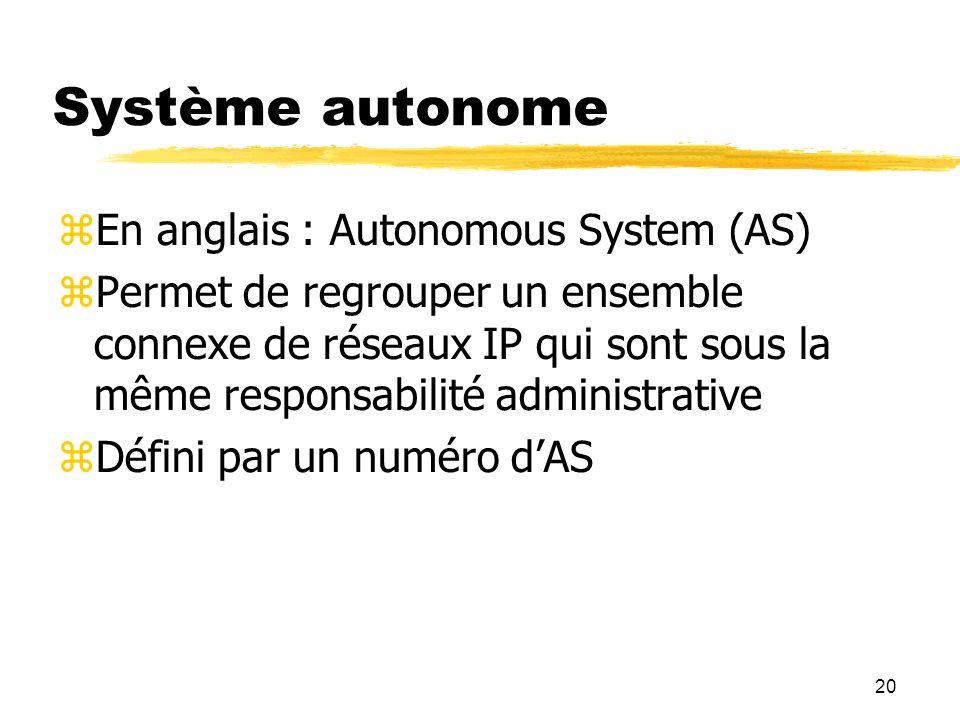 20 Système autonome  En anglais : Autonomous System (AS)  Permet de regrouper un ensemble connexe de réseaux IP qui sont sous la même responsabilité administrative  Défini par un numéro d'AS