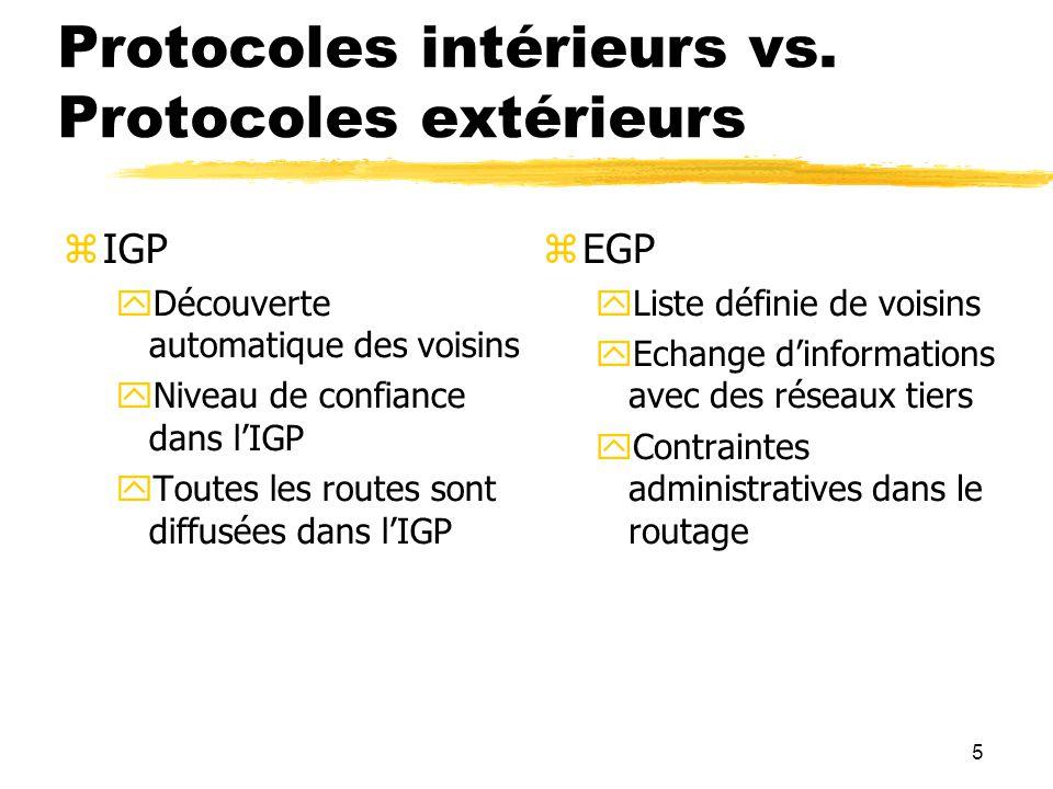 5 Protocoles intérieurs vs.