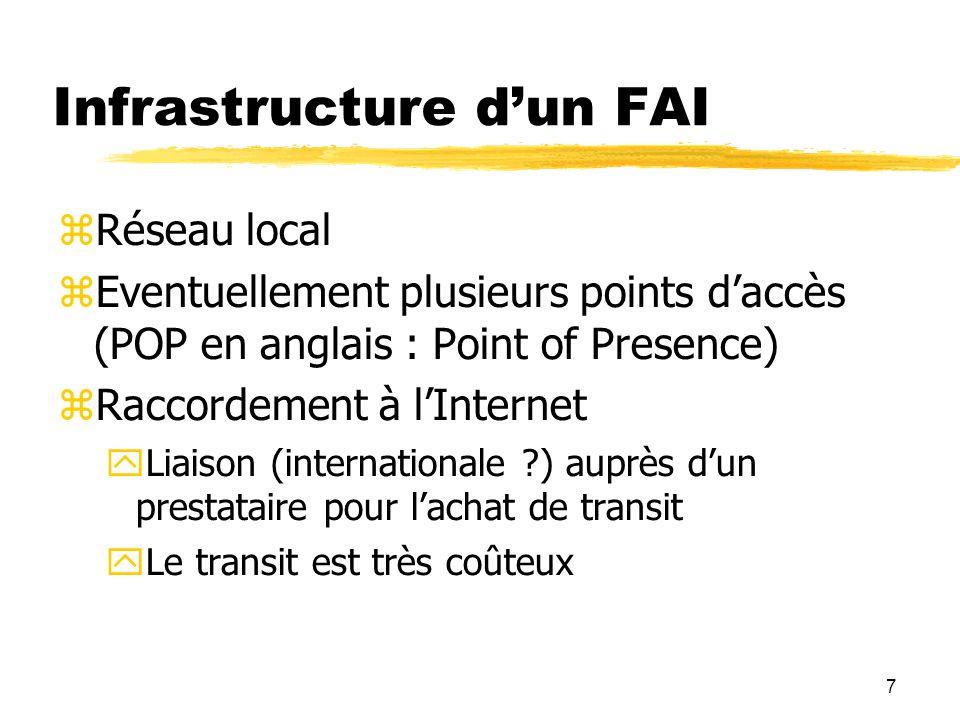 7 Infrastructure d'un FAI  Réseau local  Eventuellement plusieurs points d'accès (POP en anglais : Point of Presence)  Raccordement à l'Internet  Liaison (internationale ?) auprès d'un prestataire pour l'achat de transit  Le transit est très coûteux