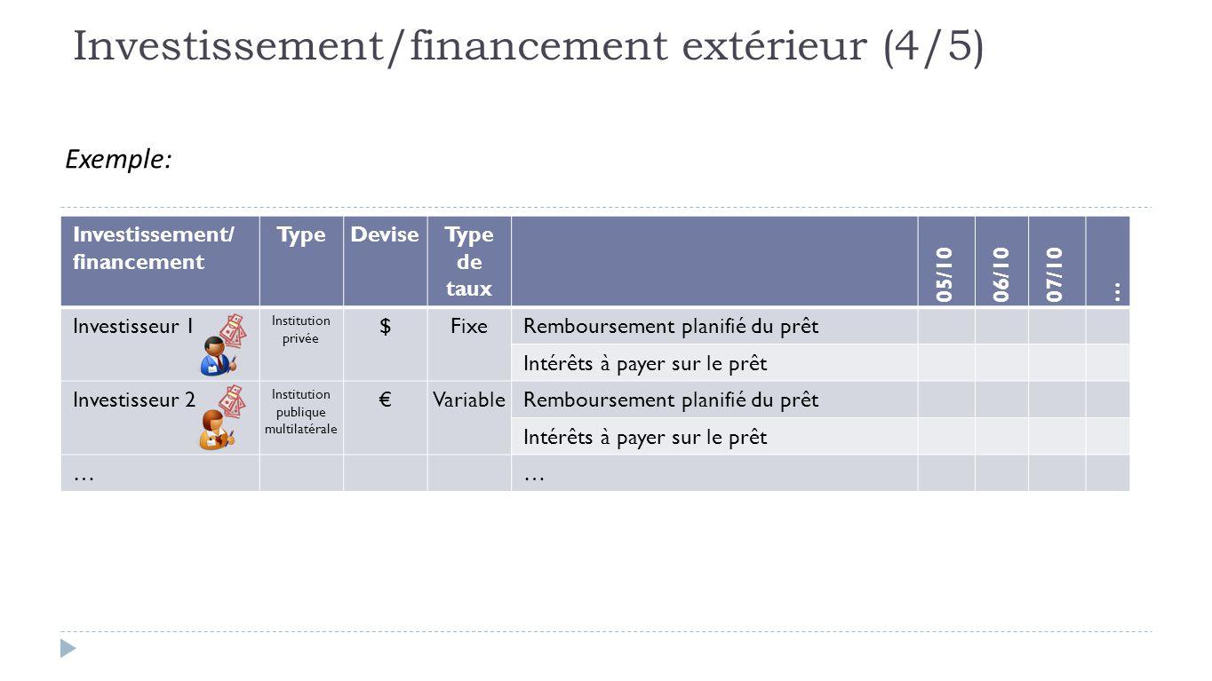Exemple: Investissement/ financement TypeDeviseType de taux 05/1006/1007/10 … Investisseur 1 Institution privée $FixeRemboursement planifié du prêt Intérêts à payer sur le prêt Investisseur 2 Institution publique multilatérale €VariableRemboursement planifié du prêt Intérêts à payer sur le prêt …… Investissement/financement extérieur (4/5)