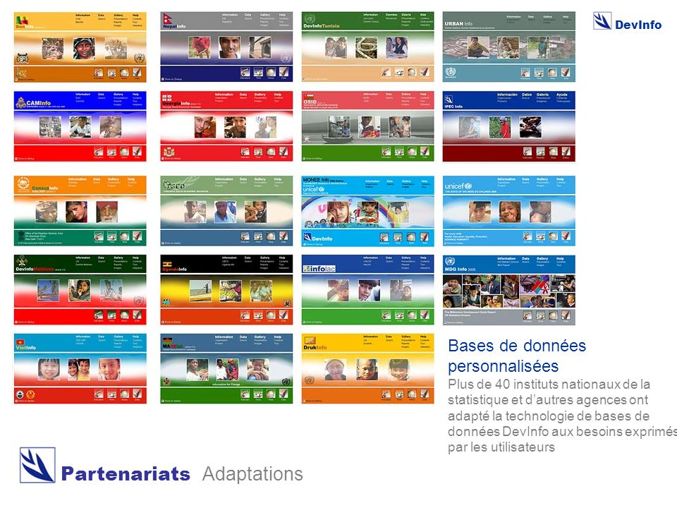 DevInfo Partenariats Adaptations Bases de données personnalisées Plus de 40 instituts nationaux de la statistique et d'autres agences ont adapté la technologie de bases de données DevInfo aux besoins exprimés par les utilisateurs