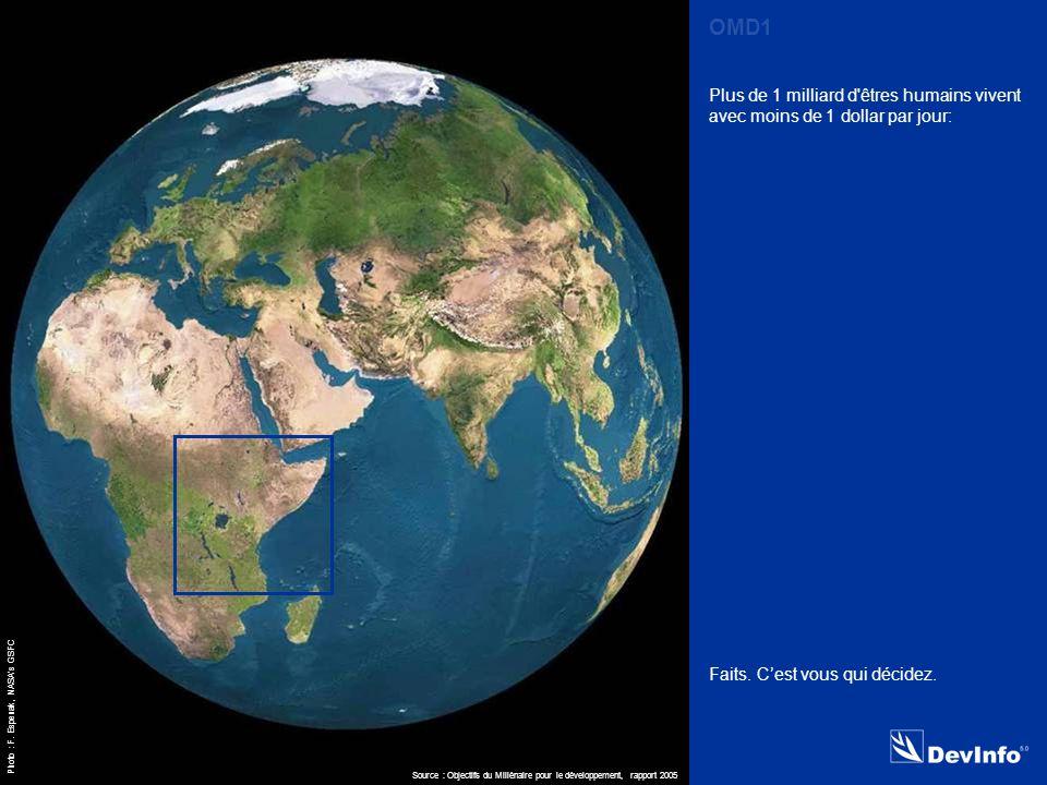 DevInfo MDG 1 Plus de 1 milliard d êtres humains vivent avec moins de 1 dollar par jour: Source : Objectifs du Millénaire pour le développement, rapport 2005 OMD1 Photo : F.