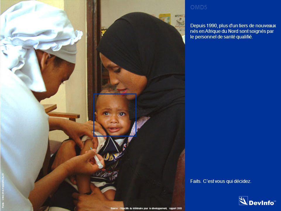 DevInfo Photo : UNICEF/CPic023/RUNJIV Depuis 1990, plus d un tiers de nouveaux nés en Afrique du Nord sont soignés par le personnel de santé qualifié.