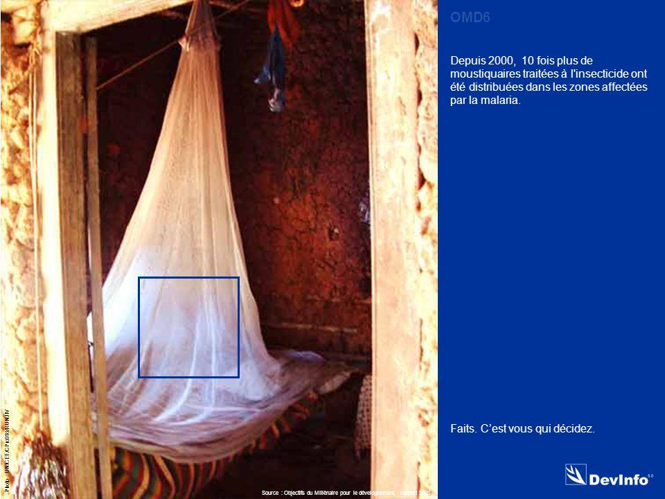 DevInfo Photo : UNICEF/CPic018/RUNJIV Depuis 2000, 10 fois plus de moustiquaires traitées à l insecticide ont été distribuées dans les zones affectées par la malaria.