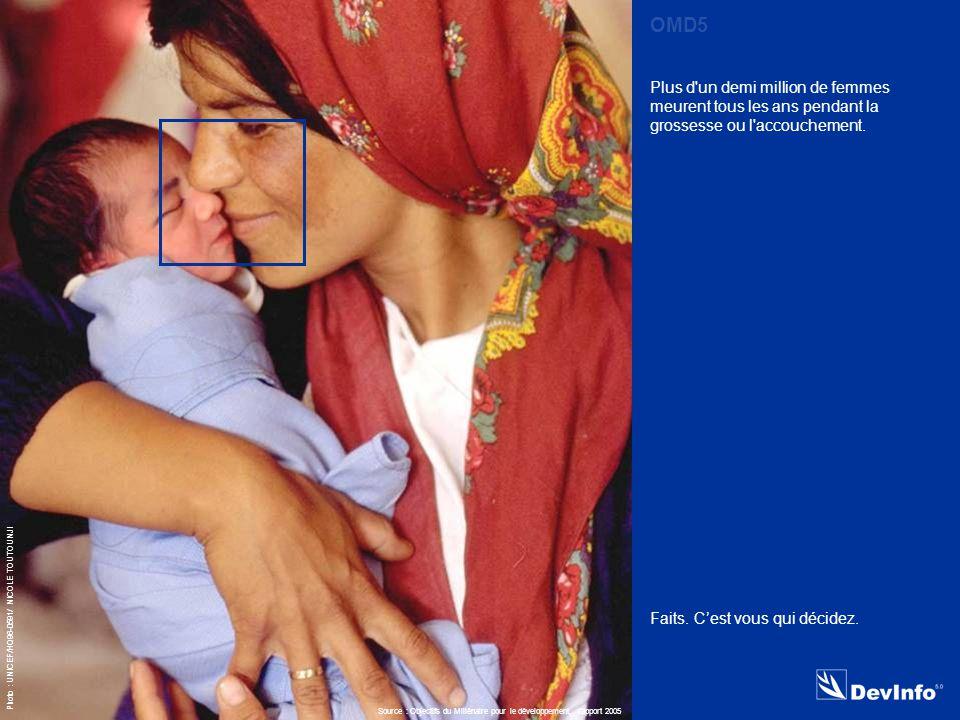 DevInfo Photo : UNICEF/HQ96-0591/ NICOLE TOUTOUNJI Plus d un demi million de femmes meurent tous les ans pendant la grossesse ou l accouchement.