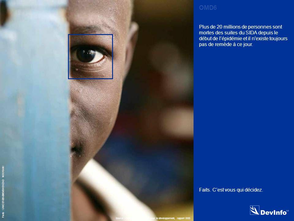 DevInfo Photo : UNICEF/05-0863/SHEHZAD NOORANI Plus de 20 millions de personnes sont mortes des suites du SIDA depuis le début de l'épidémie et il n existe toujours pas de remède à ce jour.