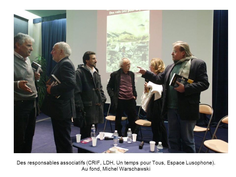 Des responsables associatifs (CRIF, LDH, Un temps pour Tous, Espace Lusophone). Au fond, Michel Warschawski