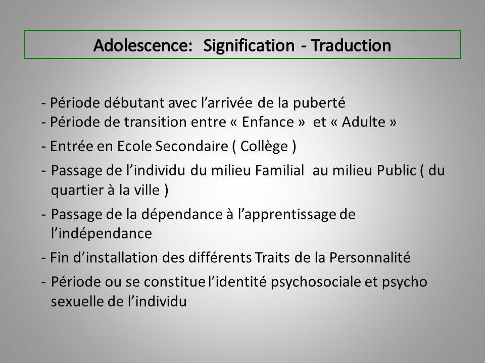 - Période débutant avec l'arrivée de la puberté - Période de transition entre « Enfance » et « Adulte » - Entrée en Ecole Secondaire ( Collège ) -Passage de l'individu du milieu Familial au milieu Public ( du quartier à la ville ) -Passage de la dépendance à l'apprentissage de l'indépendance - Fin d'installation des différents Traits de la Personnalité - -Période ou se constitue l'identité psychosociale et psycho sexuelle de l'individu