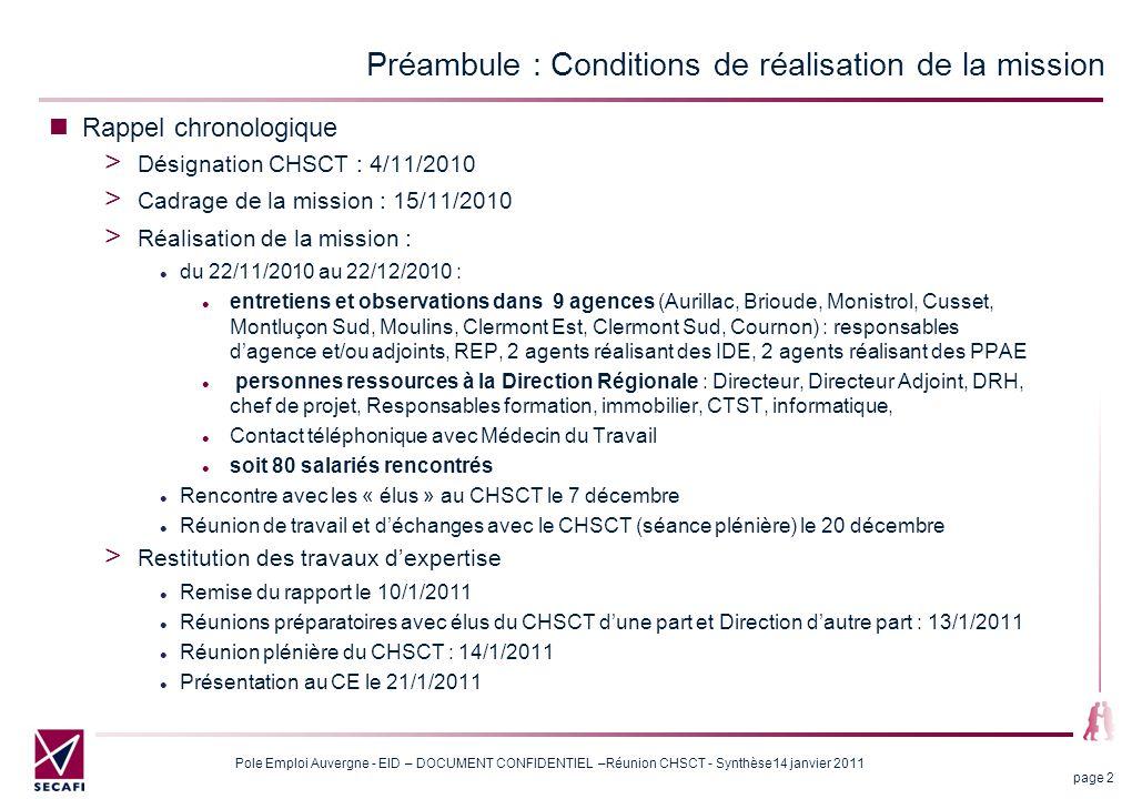 Pole Emploi Auvergne - EID – DOCUMENT CONFIDENTIEL –Réunion CHSCT - Synthèse14 janvier 2011 page 13 4 - Autour du processus de l'EID Sur la durée de 50 mn : L'expérimentation de l'IDEI et ses apprentissages : de la souplesse, de la formation et 60 minutes incompressibles pour une prestation de qualité Elle s'est déroulée à Clermont Sud du 16 mars jusqu'au 30 juin 2010.