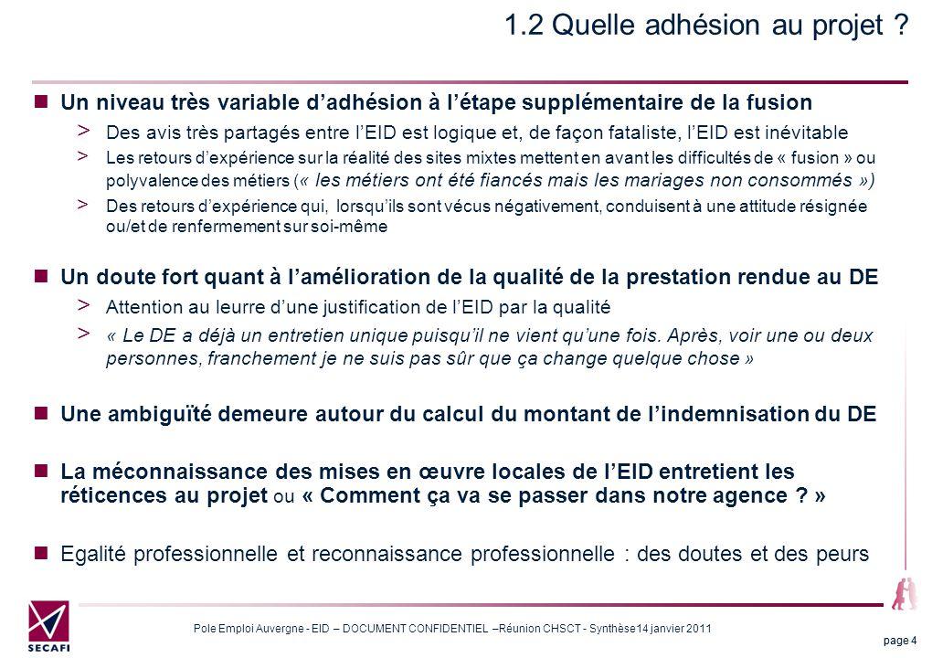 Pole Emploi Auvergne - EID – DOCUMENT CONFIDENTIEL –Réunion CHSCT - Synthèse14 janvier 2011 page 25 6 Les impacts organisationnels Quels gains de productivité .