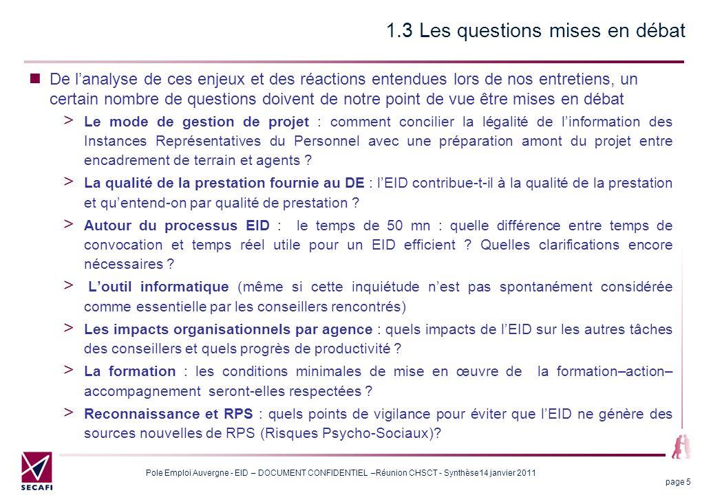 7 - Autour de la formation Pole Emploi Auvergne - EID – DOCUMENT CONFIDENTIEL –Réunion CHSCT 14 janvier 2011 page 26