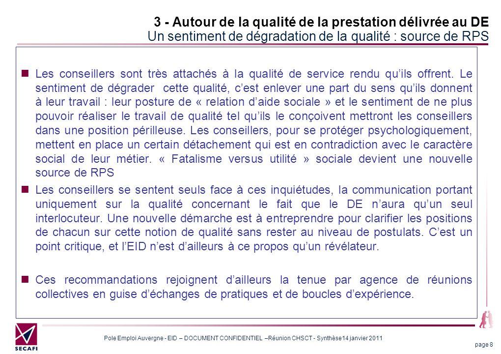 Pole Emploi Auvergne - EID – DOCUMENT CONFIDENTIEL –Réunion CHSCT - Synthèse14 janvier 2011 page 9 3 - Autour de la qualité de la prestation délivrée au DE Au sujet de la mesure de la qualité Une définition commune de la notion de qualité passe aussi par une adhésion à des critères de mesure pertinents.