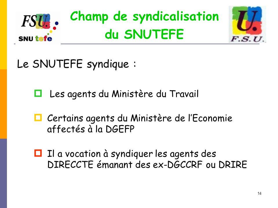14 Champ de syndicalisation du SNUTEFE Le SNUTEFE syndique :  Les agents du Ministère du Travail  Certains agents du Ministère de l'Economie affecté