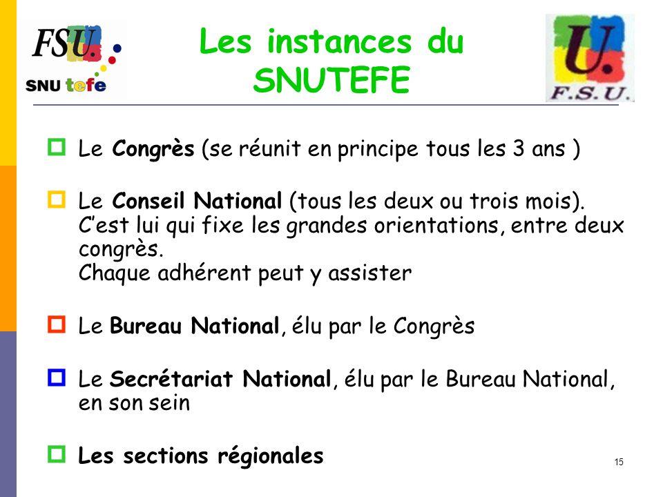 15 Les instances du SNUTEFE  Le Congrès (se réunit en principe tous les 3 ans )  Le Conseil National (tous les deux ou trois mois). C'est lui qui fi