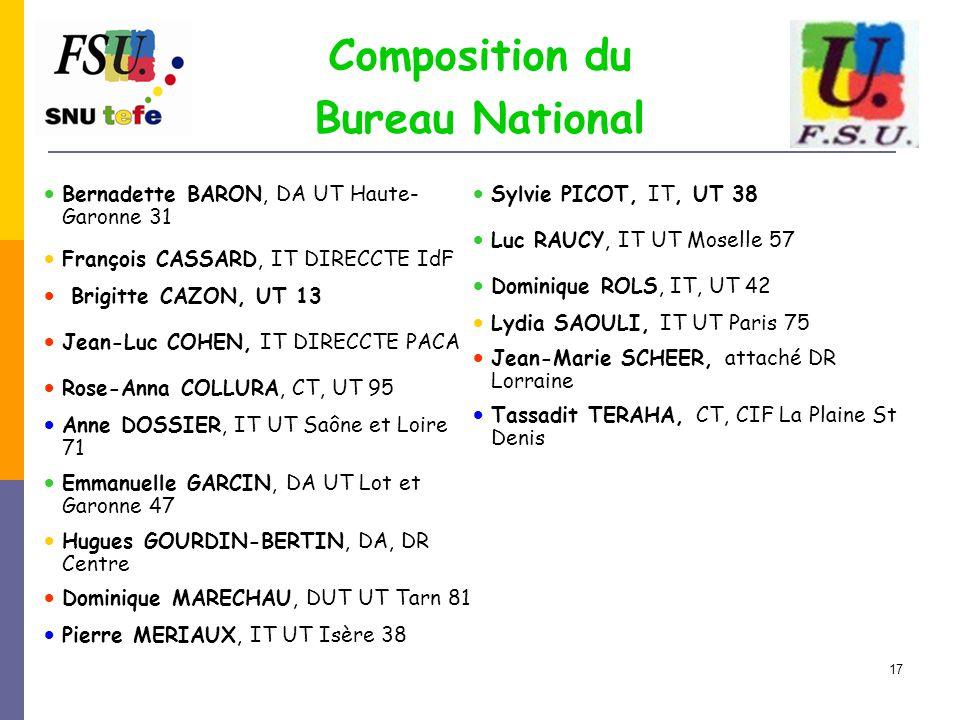 17 Composition du Bureau National  Bernadette BARON, DA UT Haute- Garonne 31  François CASSARD, IT DIRECCTE IdF  Brigitte CAZON, UT 13  Jean-Luc C