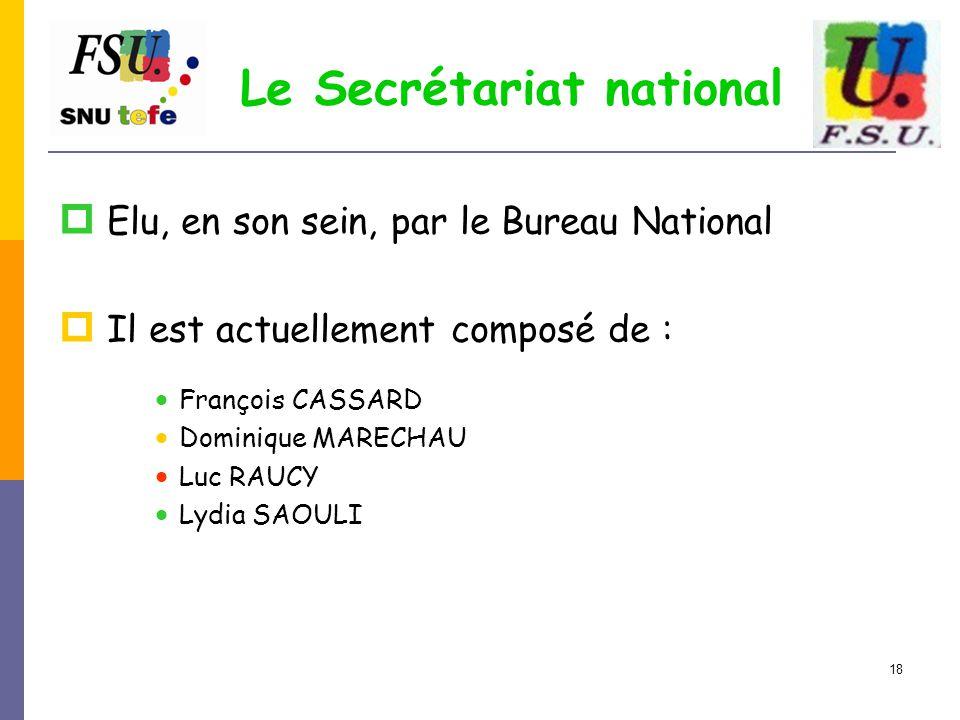 18 Le Secrétariat national  Elu, en son sein, par le Bureau National  Il est actuellement composé de :  François CASSARD  Dominique MARECHAU  Luc RAUCY  Lydia SAOULI