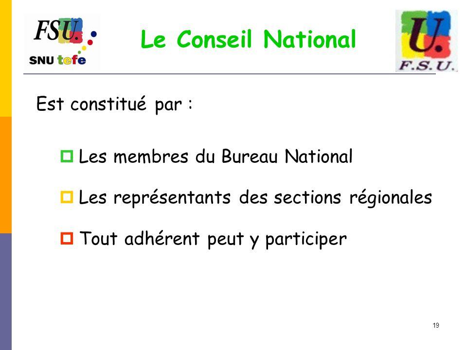 19 Le Conseil National Est constitué par :  Les membres du Bureau National  Les représentants des sections régionales  Tout adhérent peut y partici