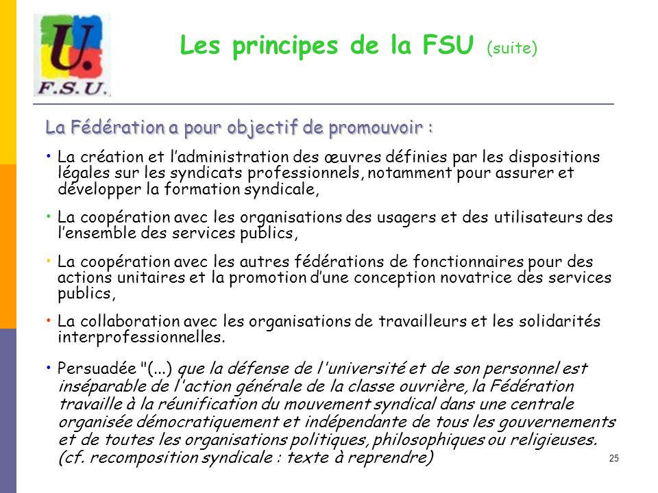 25 Les principes de la FSU (suite) La Fédération a pour objectif de promouvoir : La création et l'administration des œuvres définies par les dispositi
