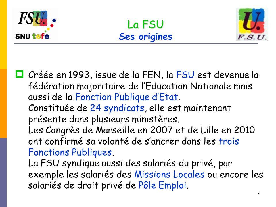 3  Créée en 1993, issue de la FEN, la FSU est devenue la fédération majoritaire de l'Education Nationale mais aussi de la Fonction Publique d'Etat. C