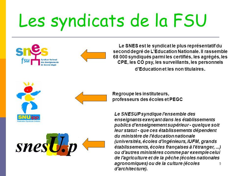 5 Les syndicats de la FSU Le SNES est le syndicat le plus représentatif du second degré de L'Education Nationale. Il rassemble 68 000 syndiqués parmi