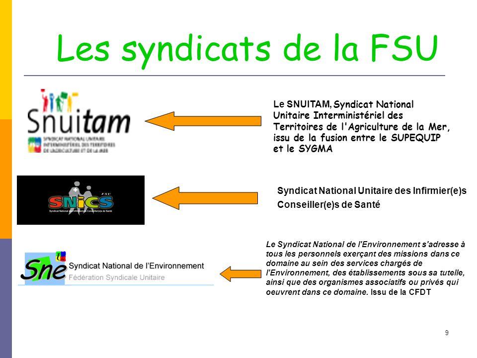 9 Le SNUITAM, Syndicat National Unitaire Interministériel des Territoires de l'Agriculture de la Mer, issu de la fusion entre le SUPEQUIP et le SYGMA