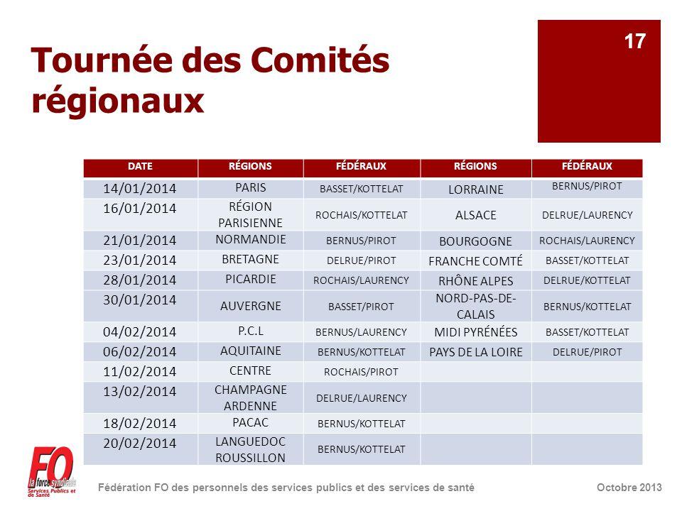 Tournée des Comités régionaux DATERÉGIONSFÉDÉRAUXRÉGIONSFÉDÉRAUX 14/01/2014 PARIS BASSET/KOTTELAT LORRAINE BERNUS/PIROT 16/01/2014 RÉGION PARISIENNE ROCHAIS/KOTTELAT ALSACE DELRUE/LAURENCY 21/01/2014 NORMANDIE BERNUS/PIROT BOURGOGNE ROCHAIS/LAURENCY 23/01/2014 BRETAGNE DELRUE/PIROT FRANCHE COMTÉ BASSET/KOTTELAT 28/01/2014 PICARDIE ROCHAIS/LAURENCY RHÔNE ALPES DELRUE/KOTTELAT 30/01/2014 AUVERGNE BASSET/PIROT NORD-PAS-DE- CALAIS BERNUS/KOTTELAT 04/02/2014 P.C.L BERNUS/LAURENCY MIDI PYRÉNÉES BASSET/KOTTELAT 06/02/2014 AQUITAINE BERNUS/KOTTELAT PAYS DE LA LOIRE DELRUE/PIROT 11/02/2014 CENTRE ROCHAIS/PIROT 13/02/2014 CHAMPAGNE ARDENNE DELRUE/LAURENCY 18/02/2014 PACAC BERNUS/KOTTELAT 20/02/2014 LANGUEDOC ROUSSILLON BERNUS/KOTTELAT Octobre 2013Fédération FO des personnels des services publics et des services de santé 17