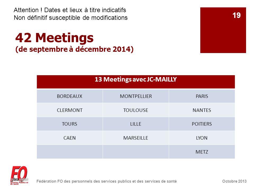 42 Meetings (de septembre à décembre 2014) Octobre 2013Fédération FO des personnels des services publics et des services de santé 19 13 Meetings avec JC-MAILLY BORDEAUXMONTPELLIERPARIS CLERMONTTOULOUSENANTES TOURSLILLEPOITIERS CAENMARSEILLELYON METZ Attention .