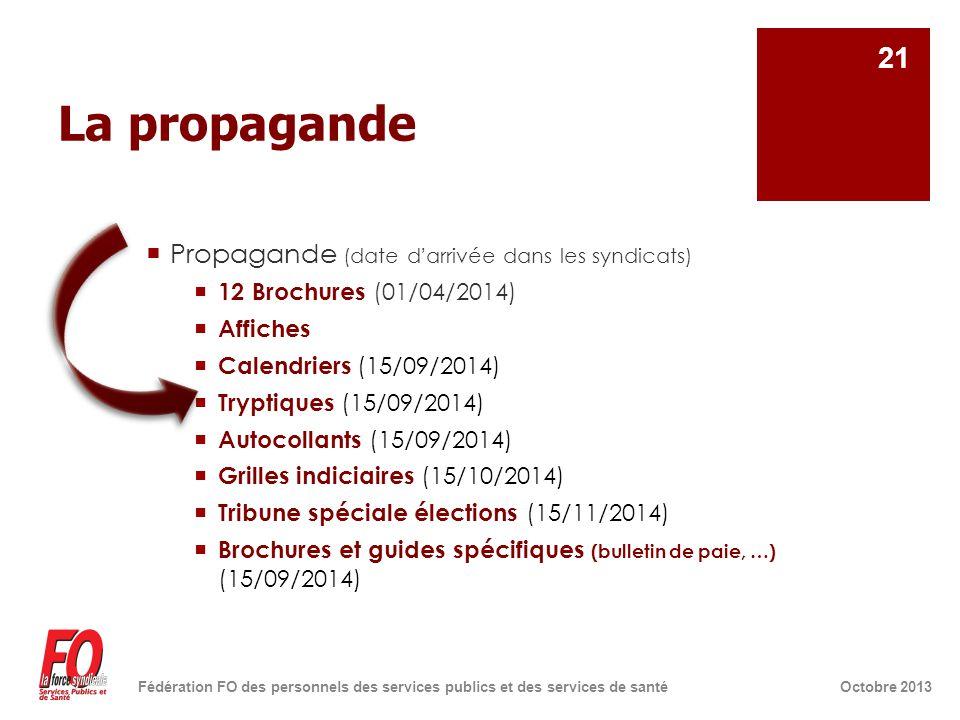 La propagande  Propagande (date d'arrivée dans les syndicats)  12 Brochures (01/04/2014)  Affiches  Calendriers (15/09/2014)  Tryptiques (15/09/2014)  Autocollants (15/09/2014)  Grilles indiciaires (15/10/2014)  Tribune spéciale élections (15/11/2014)  Brochures et guides spécifiques (bulletin de paie, …) (15/09/2014) Octobre 2013Fédération FO des personnels des services publics et des services de santé 21
