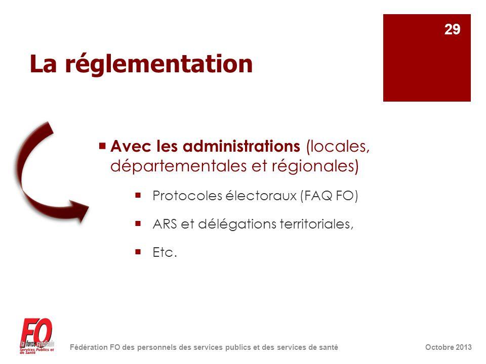 La réglementation  Avec les administrations (locales, départementales et régionales)  Protocoles électoraux (FAQ FO)  ARS et délégations territoriales,  Etc.