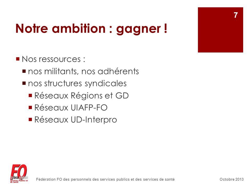 Notre ambition : gagner !  Nos ressources :  nos militants, nos adhérents  nos structures syndicales  Réseaux Régions et GD  Réseaux UIAFP-FO  R