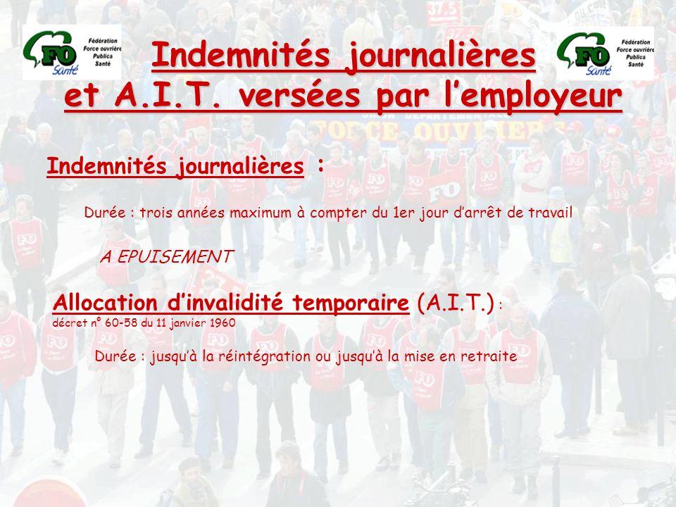 Indemnités journalières et A.I.T. versées par l'employeur Indemnités journalières : Durée : trois années maximum à compter du 1er jour d'arrêt de trav