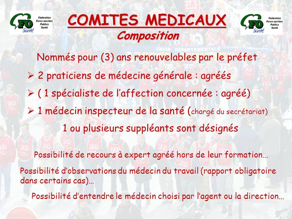 COMITES MEDICAUX Composition Nommés pour (3) ans renouvelables par le préfet  2 praticiens de médecine générale : agréés  ( 1 spécialiste de l'affec