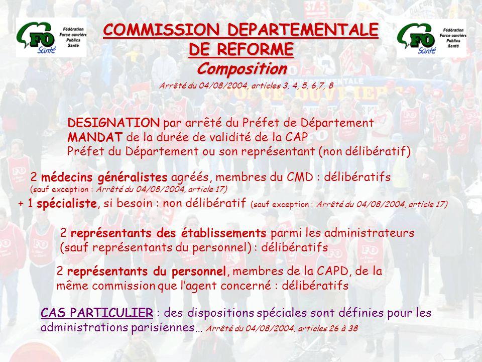 COMMISSION DEPARTEMENTALE DE REFORME Composition DESIGNATION par arrêté du Préfet de Département MANDAT de la durée de validité de la CAP Préfet du Dé