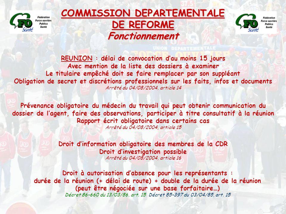 COMMISSION DEPARTEMENTALE DE REFORME Fonctionnement REUNION : délai de convocation d'au moins 15 jours Avec mention de la liste des dossiers à examine
