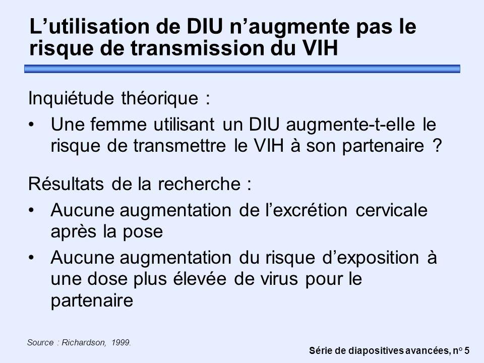 Série de diapositives avancées, n o 5 L'utilisation de DIU n'augmente pas le risque de transmission du VIH Inquiétude théorique : Une femme utilisant