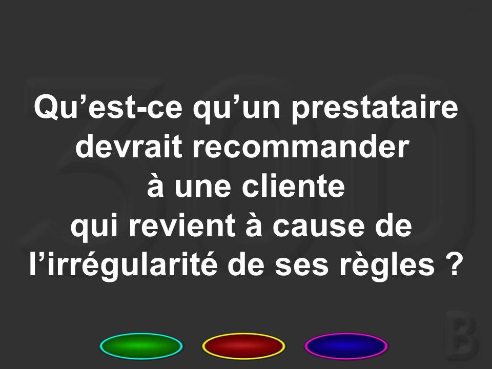 19 Nommez 3 messages clés qu'il faut communiquer aux clientes lors des séances de conseil avant la pose des implants.