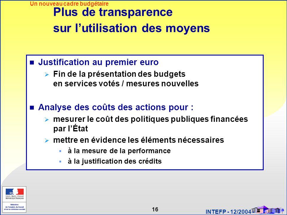 16 INTEFP - 12/2004 - Plus de transparence sur l'utilisation des moyens Justification au premier euro  Fin de la présentation des budgets en services