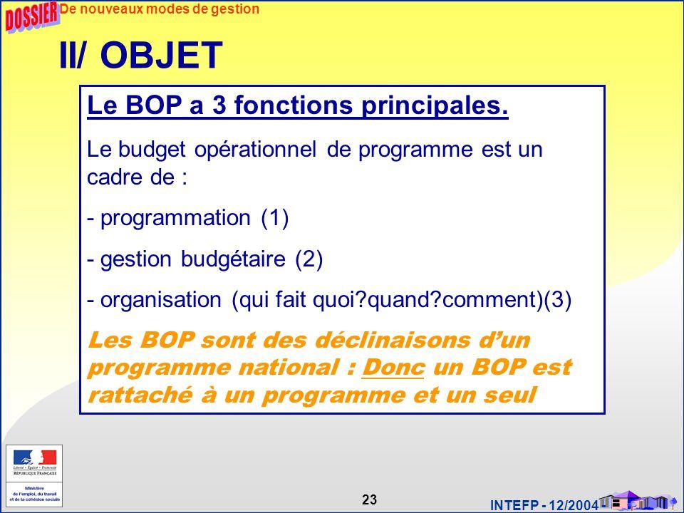 23 INTEFP - 12/2004 - II/ OBJET Le BOP a 3 fonctions principales. Le budget opérationnel de programme est un cadre de : - programmation (1) - gestion