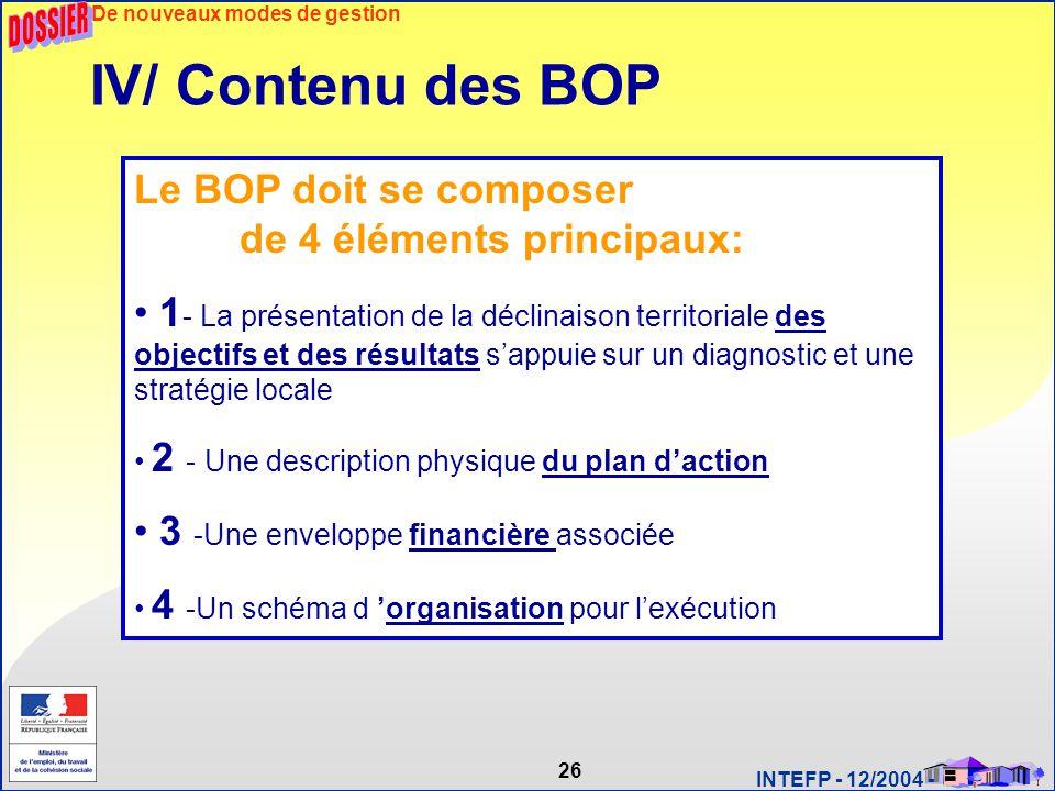 26 INTEFP - 12/2004 - Le BOP doit se composer de 4 éléments principaux: 1 - La présentation de la déclinaison territoriale des objectifs et des résult