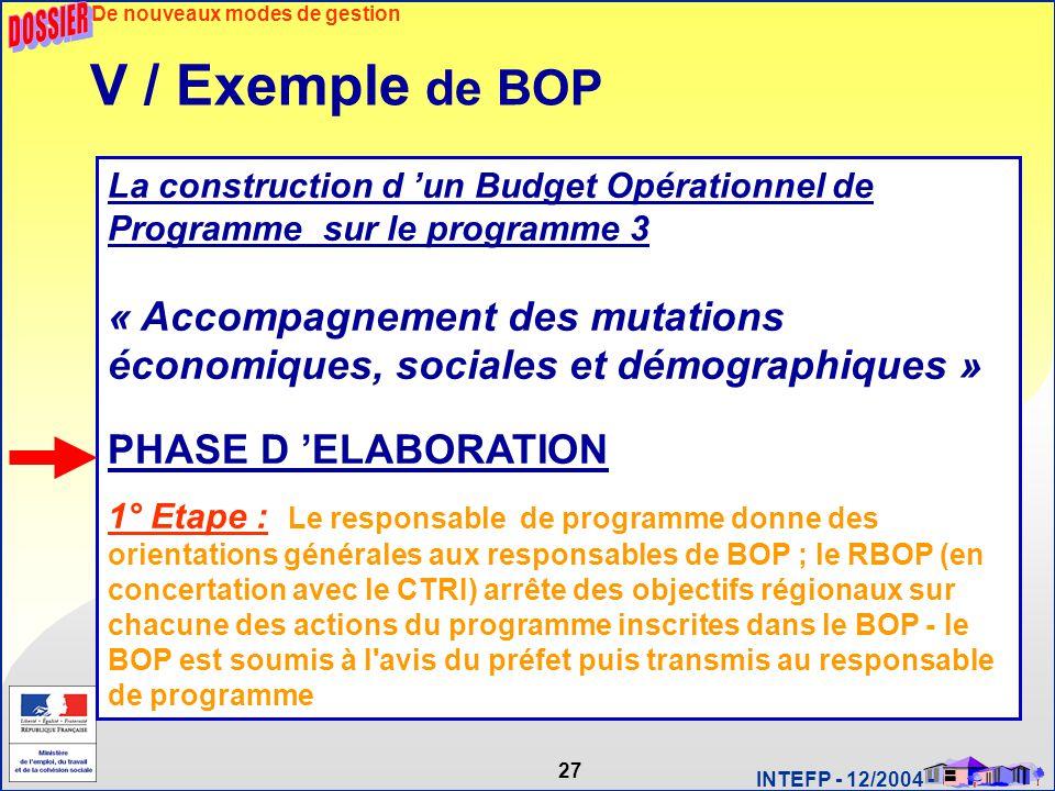 27 INTEFP - 12/2004 - La construction d 'un Budget Opérationnel de Programme sur le programme 3 « Accompagnement des mutations économiques, sociales e