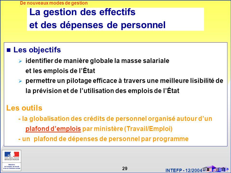 29 INTEFP - 12/2004 - La gestion des effectifs et des dépenses de personnel Les objectifs  identifier de manière globale la masse salariale et les em
