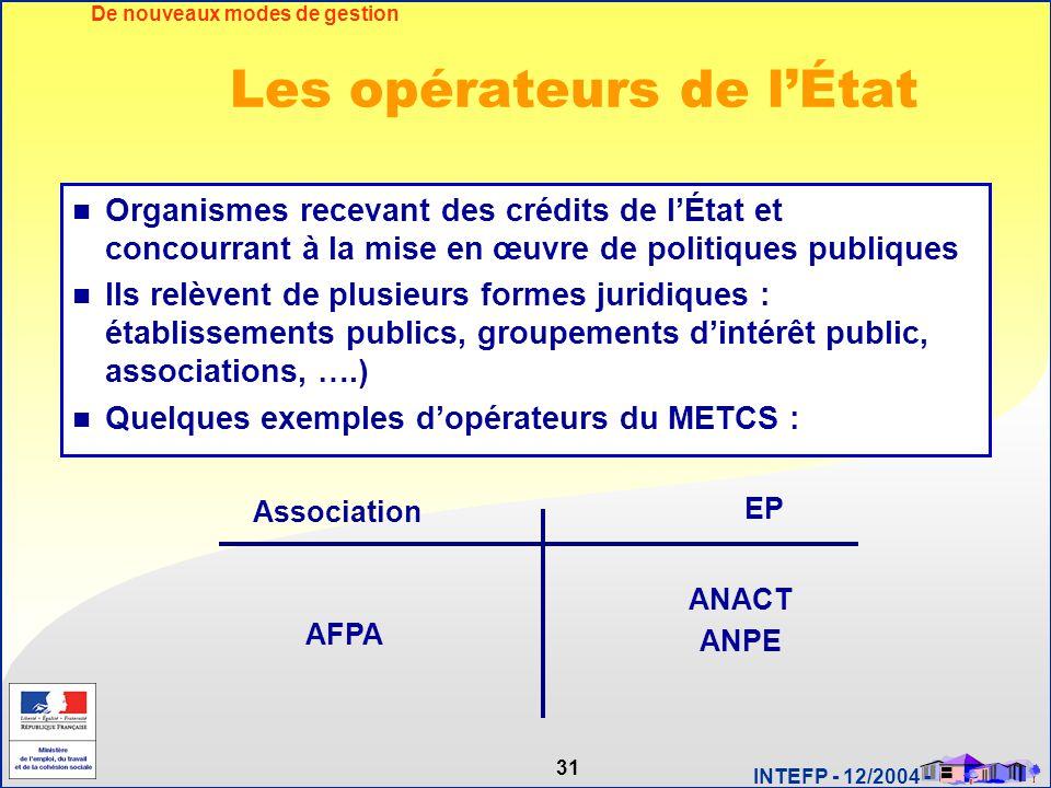31 INTEFP - 12/2004 - Les opérateurs de l'État Organismes recevant des crédits de l'État et concourrant à la mise en œuvre de politiques publiques Ils