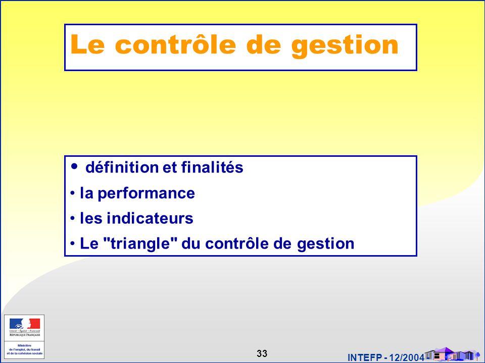 33 INTEFP - 12/2004 - Le contrôle de gestion définition et finalités la performance les indicateurs Le