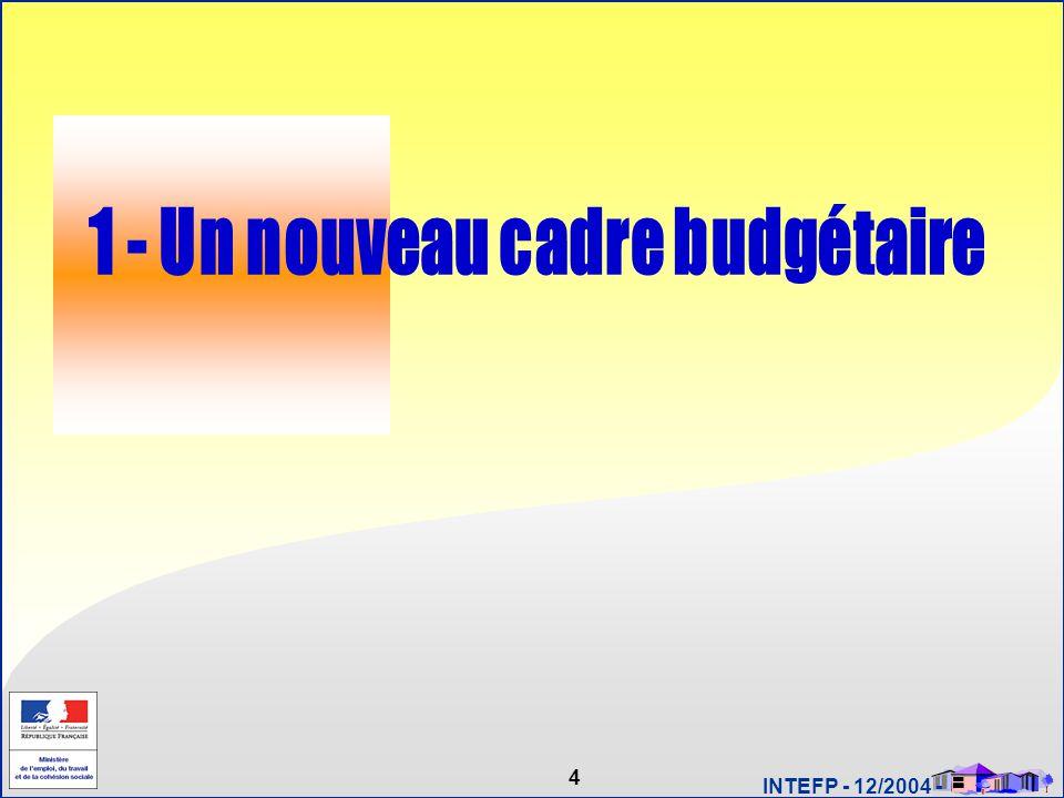 15 INTEFP - 12/2004 - Année N-1 (2005) Année N (2006) Année N+1 (2007) Vote LFI N+1 Vote LFI N Vote LR N-1 RAP N-1 PAP N+1 Vote LR N RAP N PAP N CALENDRIER LOLF 2005 - 2007 Un nouveau cadre budgétaire