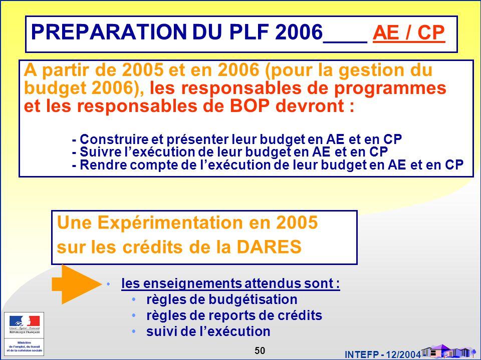 50 INTEFP - 12/2004 - PREPARATION DU PLF 2006 ____ AE / CP Une Expérimentation en 2005 sur les crédits de la DARES les enseignements attendus sont : r