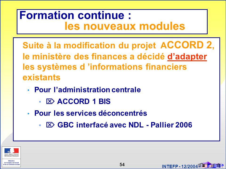 54 INTEFP - 12/2004 - Systèmes d'information Suite à la modification du projet A CCORD 2, le ministère des finances a décidé d'adapter les systèmes d