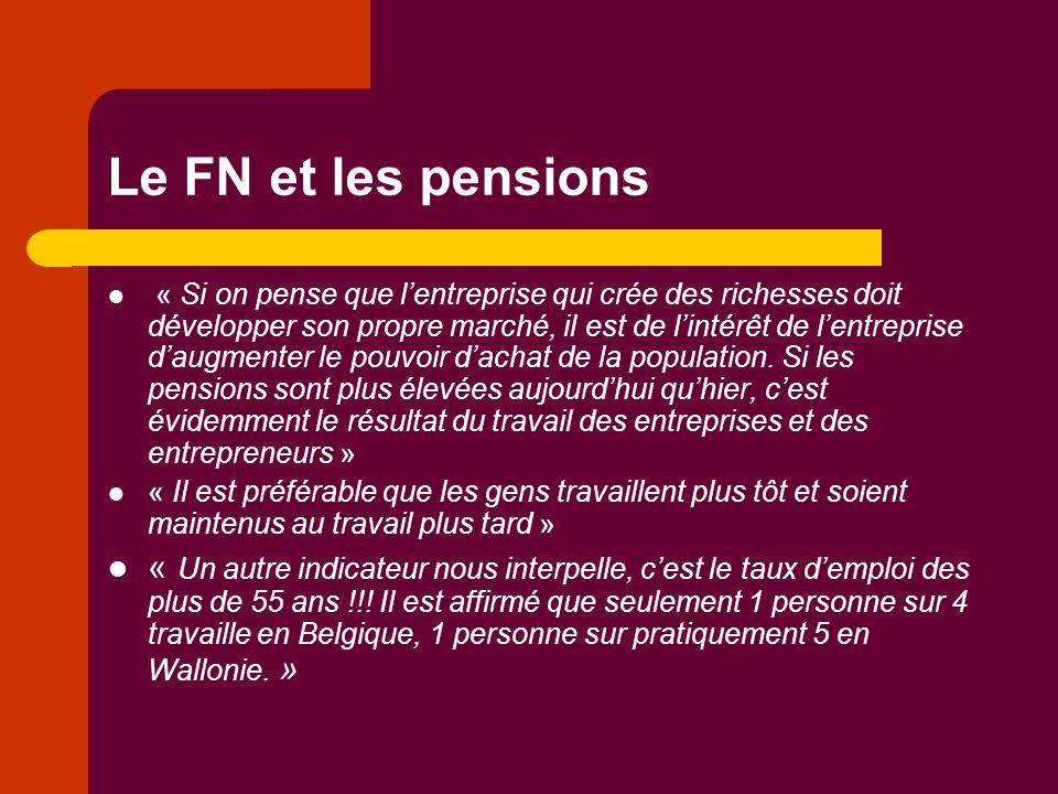 Le FN et les pensions « Si on pense que l'entreprise qui crée des richesses doit développer son propre marché, il est de l'intérêt de l'entreprise d'a