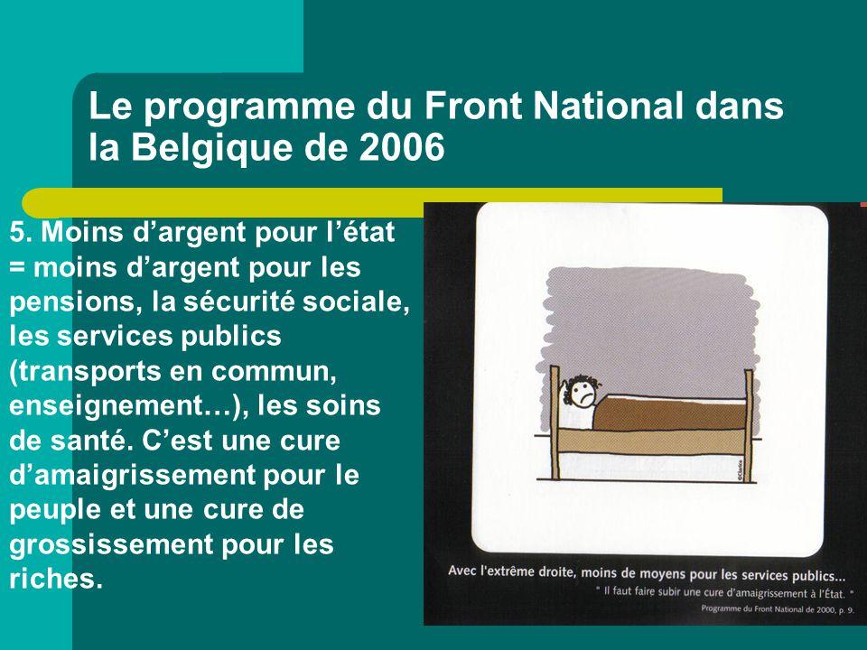 Le programme du Front National dans la Belgique de 2006 5. Moins d'argent pour l'état = moins d'argent pour les pensions, la sécurité sociale, les ser